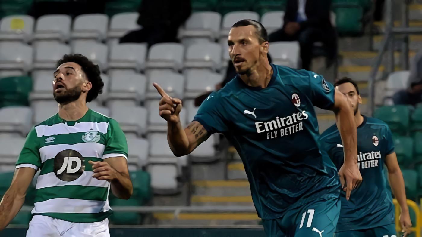 Selepas Pertandingan, Zlatan Ibrahimovic Hadiahi Anak Striker Shamrock Rovers Jersey AC Milan Miliknya